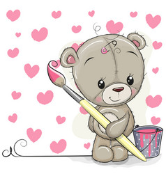 Teddy bear with brush is drawing a hearts vector