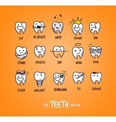 Teeth characters orange vector