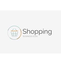 Thin line neat design logo shopping cart icon vector image