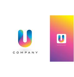 u logo letter with rainbow vibrant beautiful vector image