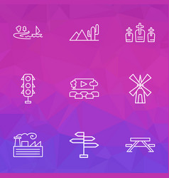 urban icons line style set with open air cinema vector image