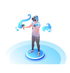 Video gamer girl in vr glasses vector
