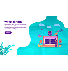 we are hiring concept with character template for vector image