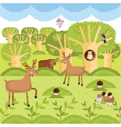 Wild animals on the forest vector