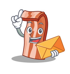 with envelope bacon character cartoon style vector image vector image