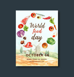 World food day poster design with farm pumpkin vector
