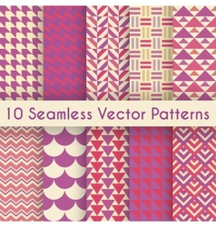 Abstract retro seamless pattern set vector image