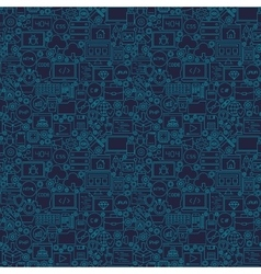 Blue Line Coding Seamless Pattern vector image