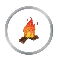 Campfire of stone age icon in cartoon style vector image