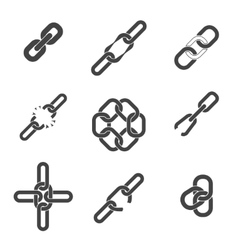 Chain or link icons set vector image vector image