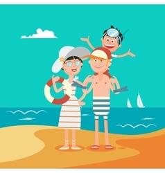 Family Summer Vacation Happy Family on the Sea vector image