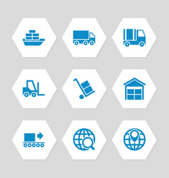 logistic delivery and transportation icons set vector image vector image
