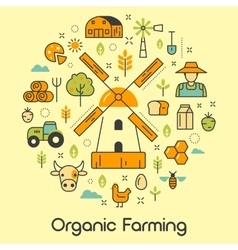 Organic Farming Line Art Thin Icons vector image