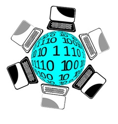 Laptops world vector image