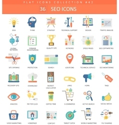 SEO and development color flat icon set vector image vector image