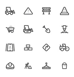 set of icons of road equipment vector image