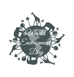 World Environment Day planet earth with animals vector image