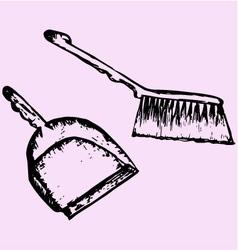 Dustpan sweeping brush vector
