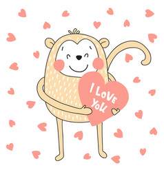 monkey with heart vector image vector image