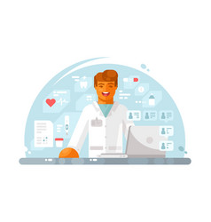 online doctor consultation vector image vector image
