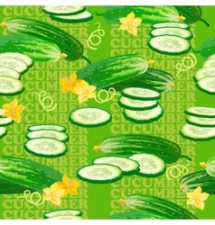 Seamless texture with cucumber flower and slices vector image vector image