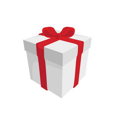 white gift with a red ribbon on a white background vector image