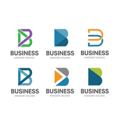 creative b letter concept logo set vector image vector image
