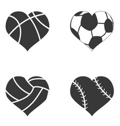 heart ball icon vector image vector image