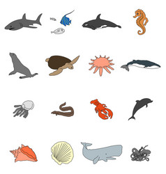 icons of sea inhabitants in a flat style with a vector image