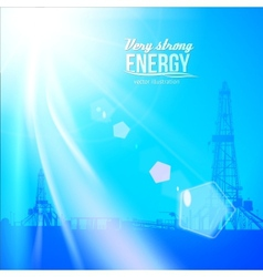 Oil rig silhouettes and blue sky vector image