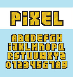 pixel art style golden alphabet and numbers vector image vector image