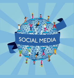 social media world concept with people online vector image