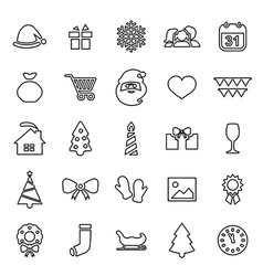25 outline universal new year and christmas icons vector