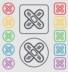 adhesive plaster icon sign symbol on the Round and vector image