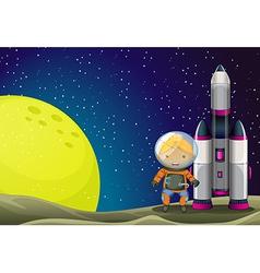 An astronaut standing beside the rocket near vector