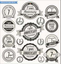Anniversary retro badges collection 7 years vector