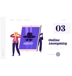 Anonymity landing page template tiny female vector