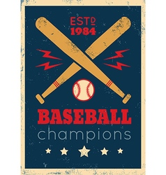 baseball retro poster new grunge vector image