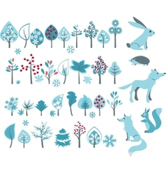 Big set with winter trees and forest animals vector
