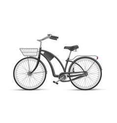 black bicycle realistic 3d isolated mockup vector image