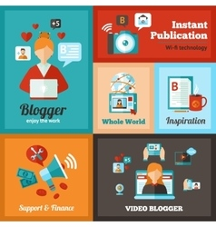 Blogger poster set vector