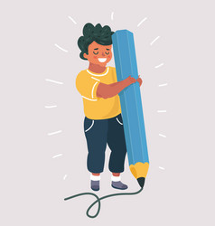 Boy holding big pencil vector