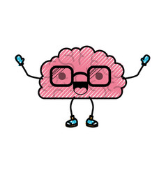 brain cartoon with glasses and cheerful expression vector image