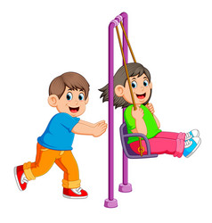 Brother pushing sister on swing vector