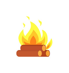burning billets isolated icon flame logs vector image