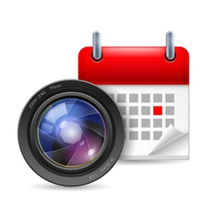 Camera lens and calendar vector image