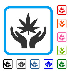 Cannabis care framed icon vector