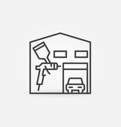 Car body painting garage concept line icon vector