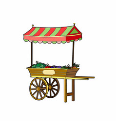 Cart of vegetables vector
