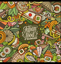 Cartoon color hand-drawn doodles japan food frame vector